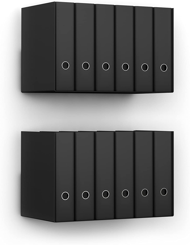 Home3000 2 x Ordnerregal Bürorregal aus Metall in schwarz für bis zu 28 Ordner