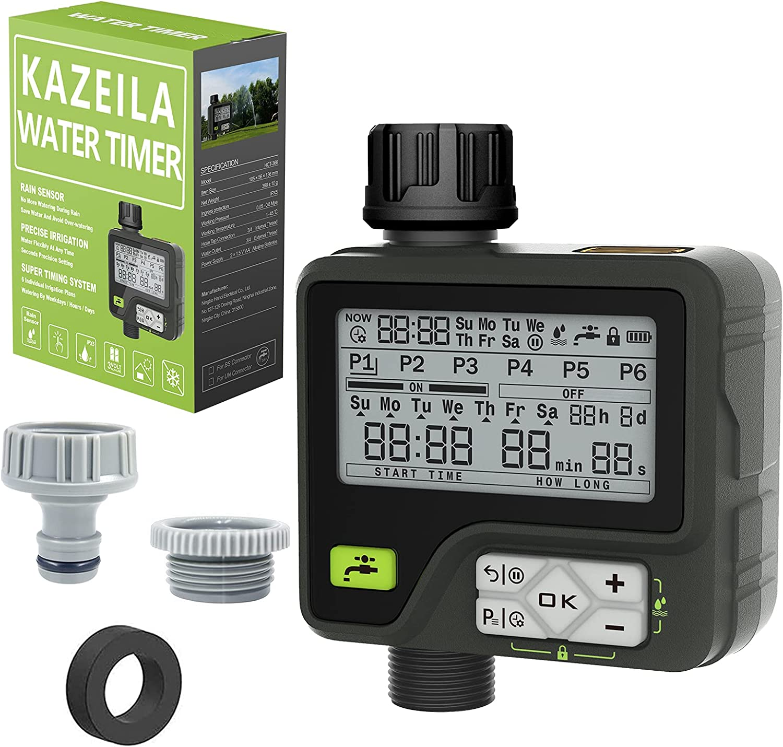 Kazeila Riego Automatico Programador Riego Programador de Riego 6 programas de riego separados con sensor de lluvia control manual a prueba de agua para el césped del jardín