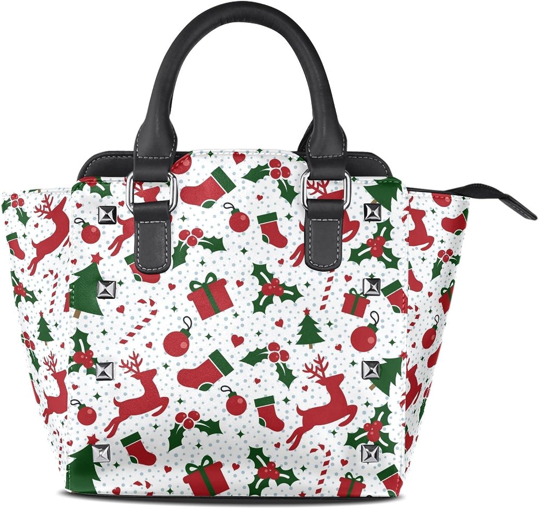 My Little Nest Women's Top Handle Satchel Handbag Merry Christmas Cute Ornament Reindeer Trees Balls Ladies PU Leather Shoulder Bag Crossbody Bag