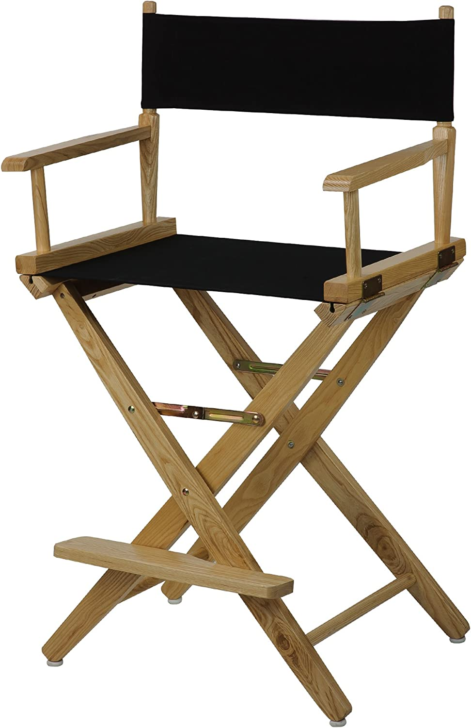 American Trails Extra-Wide Premium 24  Director's Chair Natural Frame with Black Canvas, Counter Height