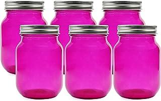 Cornucopia Pink Glass Mason Jars (6-Pack, Pint Size); 16oz Fuchsia Colored Glass Canning and Apothecary Jars