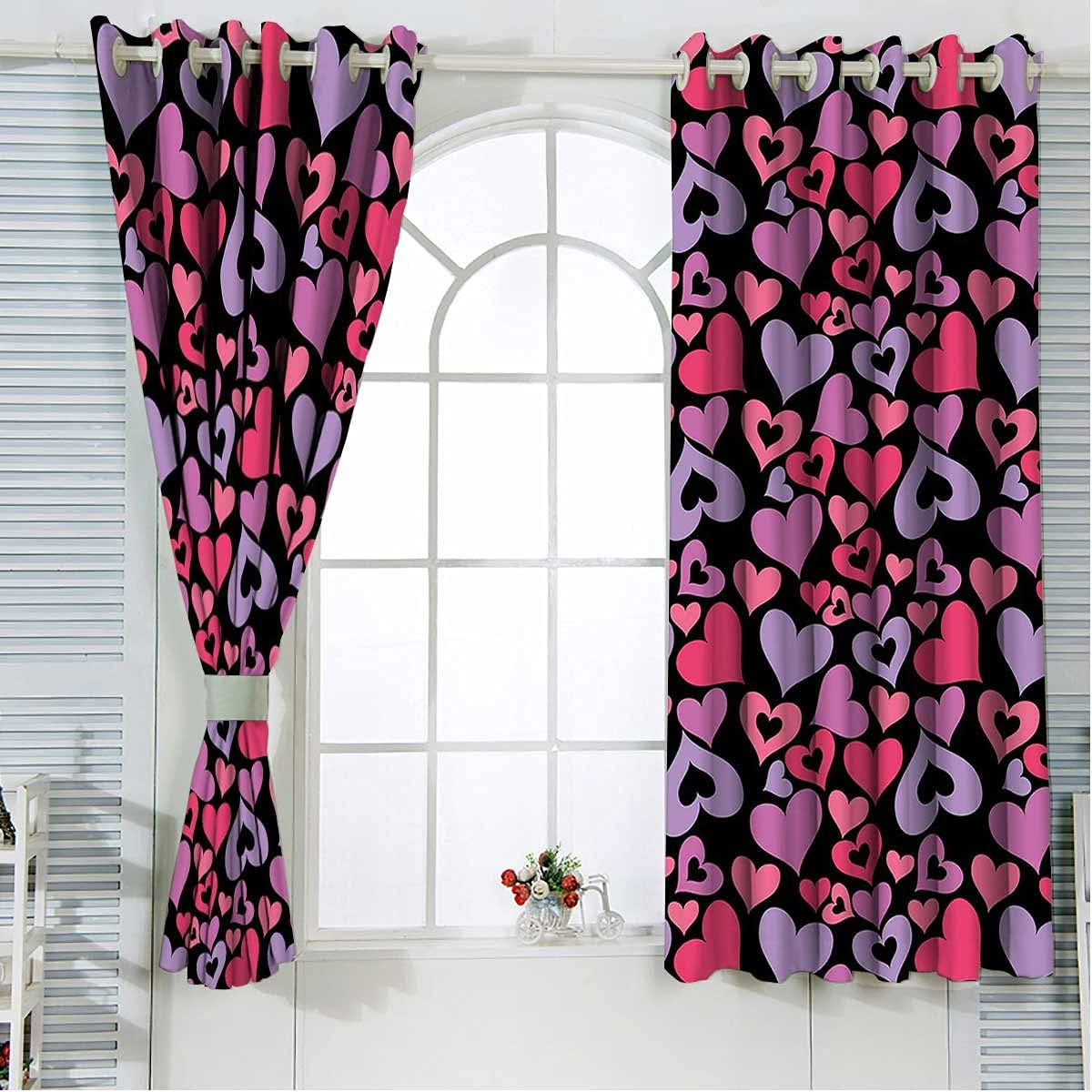Blackout Curtain Panels Mail order 2 Set 63 Be super welcome Hearts Length Inches Pinkish V