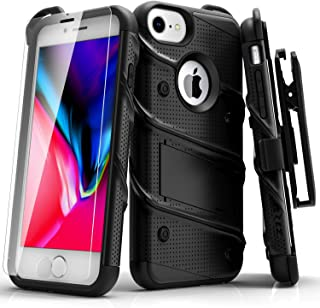 ZIZO Bolt Series iPhone 8 Case Military Grade Drop Tested with Tempered Glass Screen Protector, Holster iPhone 7 case Black