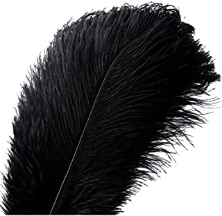 10pcs Natural Ostrich Feathers Plume - 12-14inch(30-35cm) for Wedding Centerpieces Home Decoration (30-35cm,Black)