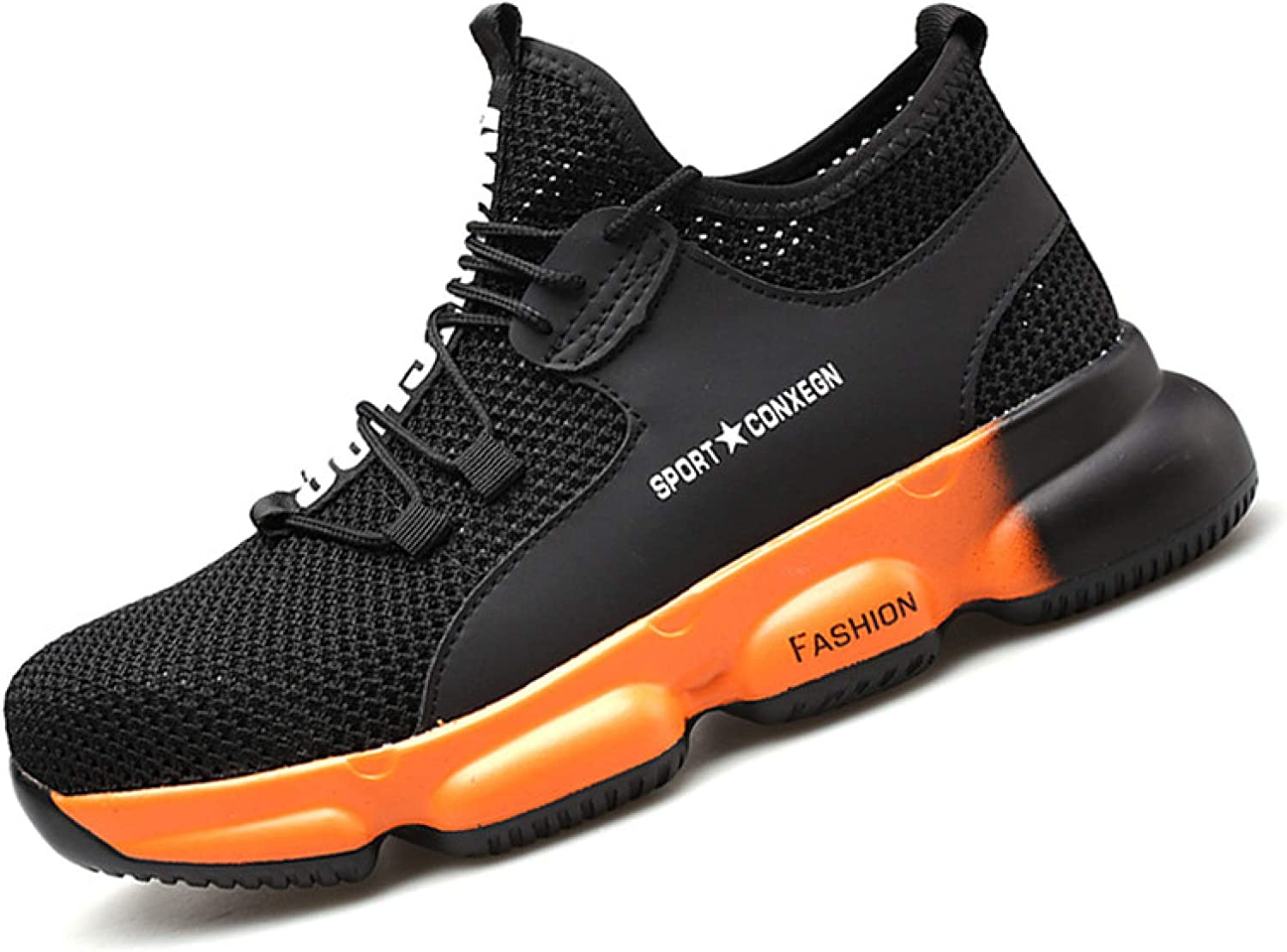 AGYE Safety Shoes for Men,Steel Toe Work Shoe Women,Puncture-Proof Light Breathable Industrial Construction Sneakers,Orange-40