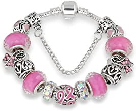 Guy-Sex Nicely Antique Silver Bracelets for Women Murano Glass Bead Crystal New Breast Cancer Awareness Pink Ribbon Charms Bracelet