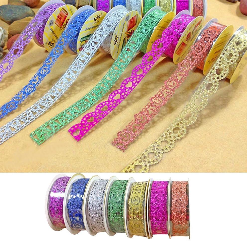Kangkang@ 7 Rolls Hollow Lace Style Shiny Bling Decorative Washi Masking Tape for Scrapbooking Phone Notebook DIY Decoration Multicolor