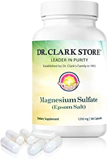 Dr. Clark Magnesium Sulphate USP (Epsom Salt) - Dietary Supplement, Laxatives for Constipation, Liver and Gallbladder Cleanse, 1030 mg, 100 Capsules