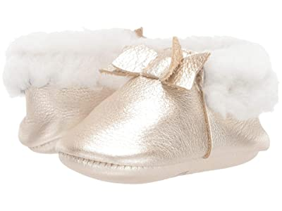 Freshly Picked Platinum Shearling Bow Mocc (Infant/Toddler) (Platinum) Girl