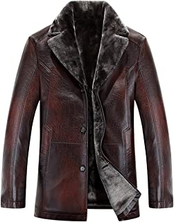 Men's Leather Jacket Suit Fur Collar Trench Peacoat Cashmere Lined