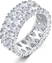 AJZYX Sterling Silver Plated Micro Zircon CZ Full Paved Promise Crystal Rings Droplets Pattern Ring for Women Girls Size 6-9