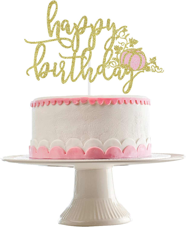 Pumpkin Happy Birthday Cake Topper Gold and Pink Glitter- Fall Pumpkin Birthday Baby Shower Party Decorations,Fall Birthday Cake Topper Girl,Girl Fall Birthday Party Cake Food Picks,Girl Pink Pumpkin Birthday Cake Decor