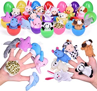 18 PCs Easter Eggs with Plush Animals Hand Finger Puppets and Pendants, Easter Eggs Toys Set for Party Favors, Easter Egg Fillers, Easter Basket Stuffers