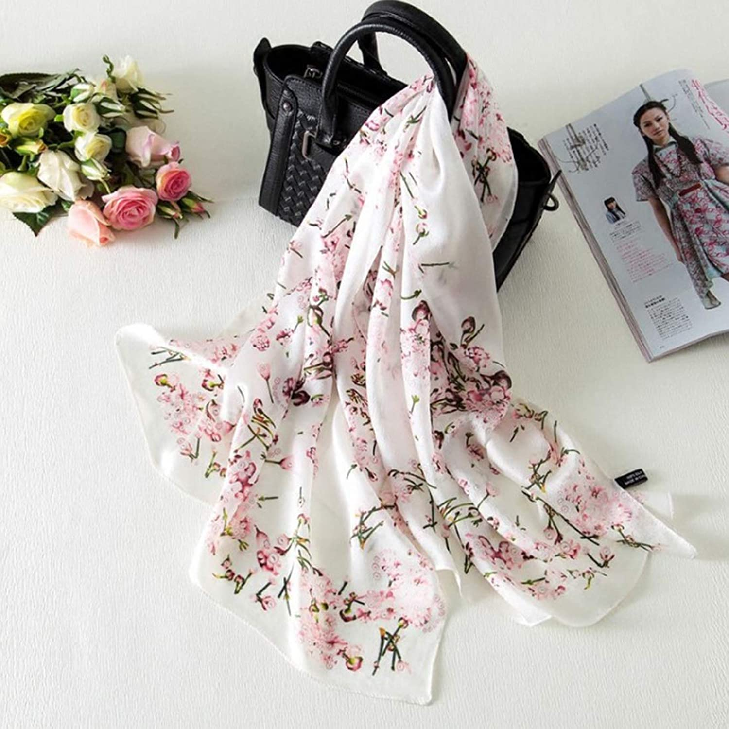 CEFULTY Exquisite Cherry Blossom Printed Soft Silk MultiFunctional Scarf Seaside Sunscreen Shawl (color   White)