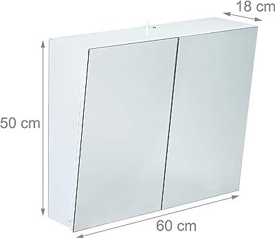 Relaxdays Armoire Toilette Miroir 2 Portes Meuble Salle de Bain Placard Mural Prise Courant Acier 50x60x18 cm, Blanc