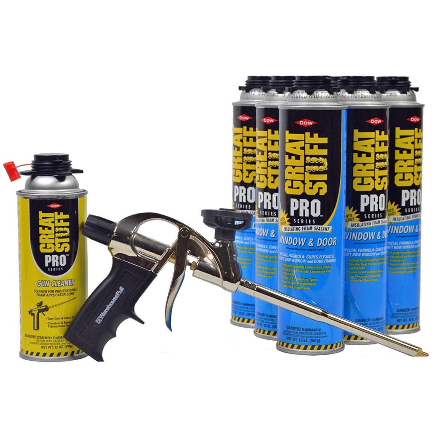 Dow Great Stuff PRO Window and Door 20 oz cans (6) + AWF Pro Foam Gun (1) + Dow Foam Cleaner (1)