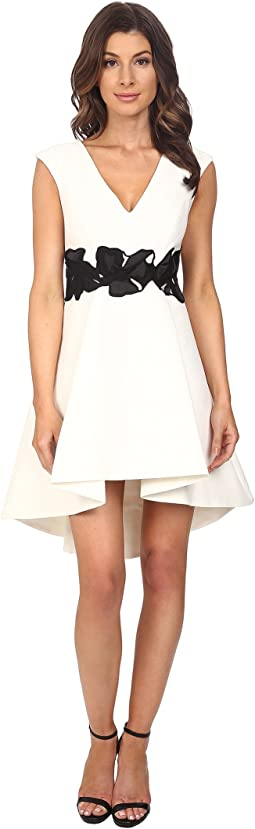 Cap Sleeve V-Neck Structured Dress with Orchid Applique