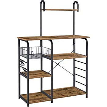 Yaheetech Bakers Rack Industrial Kitchen Shelf Metal Frame Microwave Oven Stand Shelf with Wire Basket and 6 Hooks for Spices and Utensils 90X39X84cm Rustic Brown