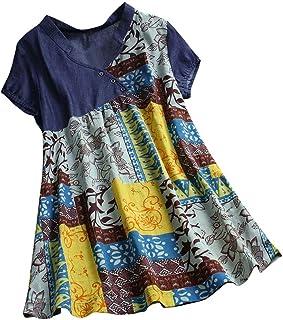 Kawaiine 2019 New Womens Summer Casual Sleeveless Floral Printed Swing Dress Sundress with Pocket Tops Navy