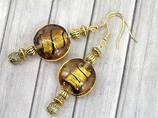 Orecchini in acciaio inossidabile dorato Venezia con perle piatte in vetro di Murano dorato