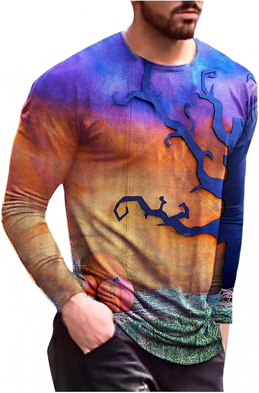 LEIYAN Halloween Mens Long Sleeve Shirts Crew Neck Graphic Pumpkin Skull Print Active Outdoor Workout Tops Blouses
