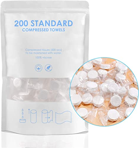 200pcs Mini Compressed Towel, Magic Disposable Face Compressed Towels, Soft Compressed Hand Wipe, Portable Compressed...