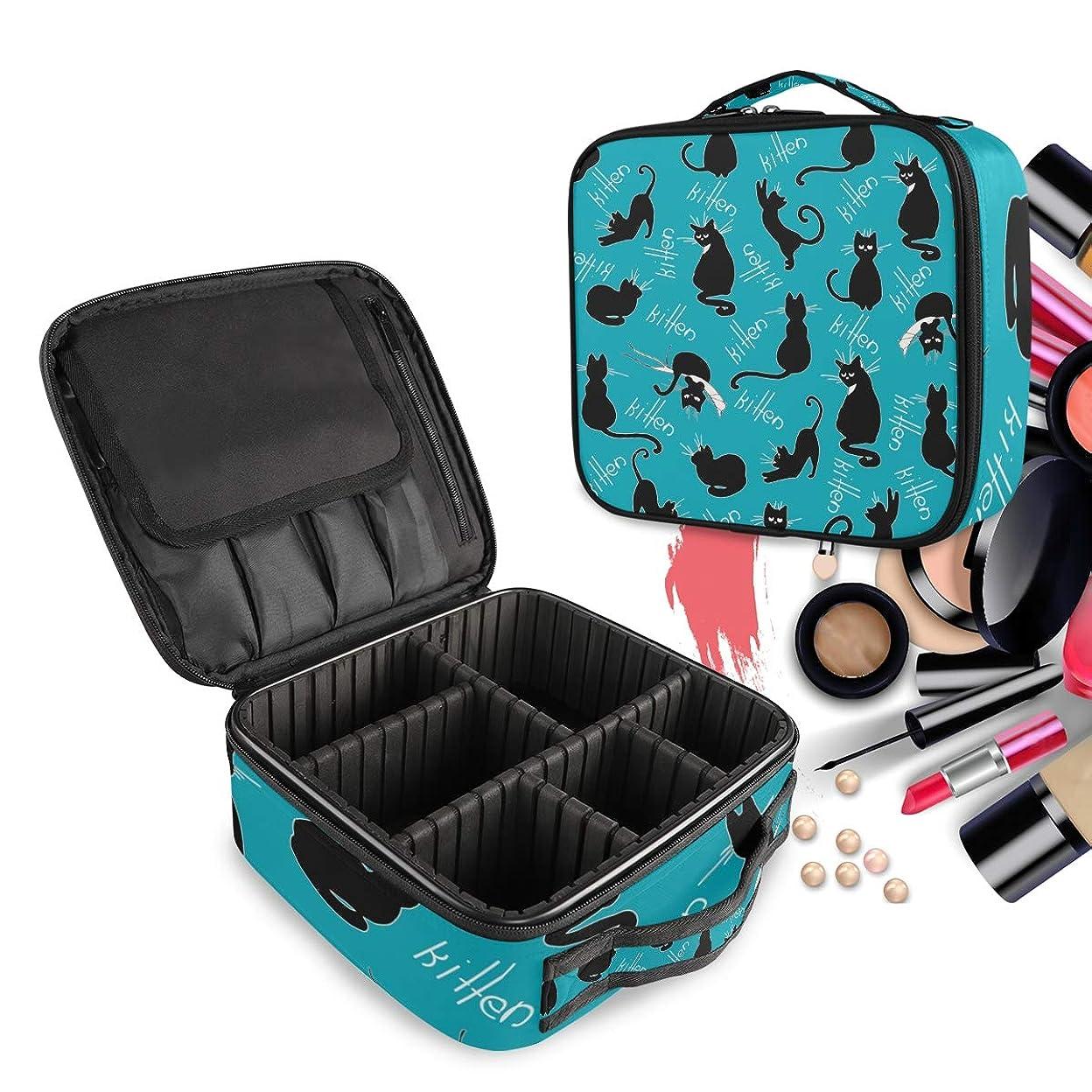中傷ルーフメキシコ黒ハロウィン猫クリエイティブメイクアップバッグ化粧品バッグトイレタリーケースオーガナイザー調節可能なディバイダー付き無料コンパートメント女性女の子