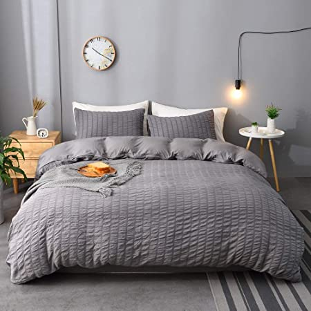 Amazon Com M Meagle 3 Pieces Textured Duvet Cover Dark Grey Set With Zipper Closure 100 Washed Microfiber Seersucker Fabric Luxury Hotel Quality Bedding King Size 1 Duvet Cover 2 Pillowcases Kitchen Dining