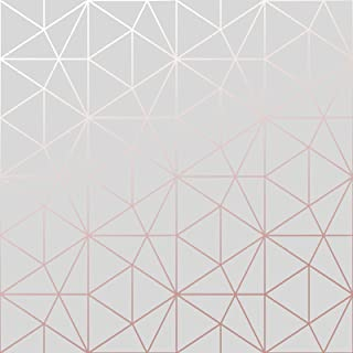 Metro Prism Geometric Triangle Wallpaper - Grey and Rose Gold - WOW009 World of Wallpaper