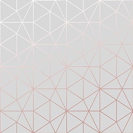 Merveilleux Papier Peint Metro Prisme Géométrique Triangle   Gris Et Or Rose   WOW009  World Of Wallpaper