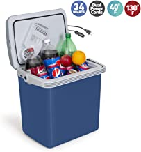 KOOZAM K-Box Electric Cooler and Warmer for Car and Home - 34 Quart (32 Liter) - Dual 110V AC House and 12V DC Vehicle Plugs (Blue)