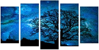 Xlarge Starry Night Canvas Wall Art Black Tree Galaxy Landscape Prints Wall Decal Artwork,Starry Painting Prints For Living Room,Stretched on Premium Wood Frame,Ready to Hang (5 Pieces Large)