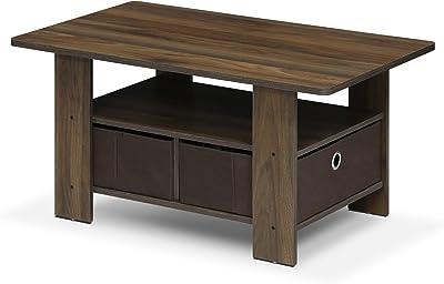 FURINNO Andrey Coffee Table with Bin Drawer, Columbia Walnut/Dark Brown