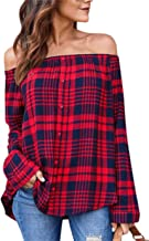 Women Casual Off Shoulder Long Sleeves Plaid Tops Print Button Down Shirt Blouses