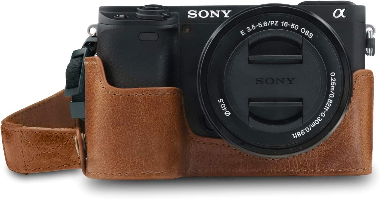 Megagear Ever Ready Echtleder Kameratasche Mit Trageriemen Kompatibel Mit Sony Alpha A6100 A6400