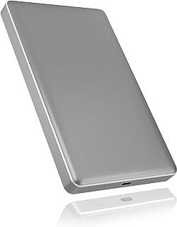 ICY BOX Externes USB C Gehäuse für 2,5 Zoll HDD/SSD, USB 3.1 (Gen 2, 10 Gbit/s), Aluminium, werkzeuglos, grau