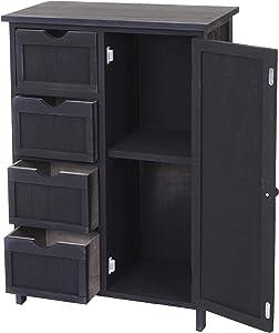 Mendler Serie Vintage scaffale cassettiera HWC-D12 cassetti e sportello 30x55x82cm ~ Antracite