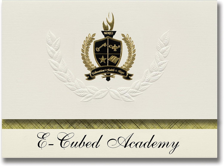 Signature Ankündigungen e-cubed Academy (Providence, RI) Graduation Ankündigungen, Presidential Stil, Elite Paket 25 Stück mit Gold & Schwarz Metallic Folie Dichtung B078VCV6T7   | Flagship-Store