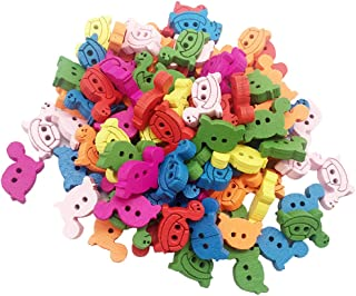 Baoblaze 100Pcs Mixed Colors Turtle Shape Wooden Buttons for Cardmaking Sewing Embellishment