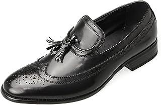 [エムエムワン] MM/ONE ビジネスシューズ メンズ タッセル ローファー スリッポン スリップオン メダリオン ウイングチップ ブラック 黒 26.5cm