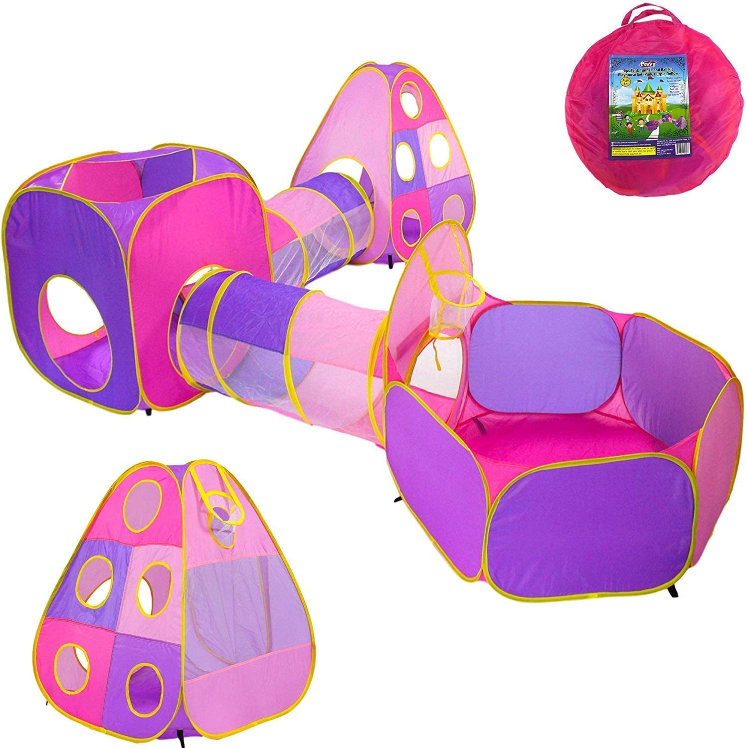 3 in 1 Kids Tunnel Play Tent House Indoor Outdoor Play Toys with Carrying Case