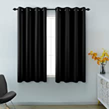 KOUFALL Black Curtains 45 Inch Length for Small Windows 2 Panels Basic Blackout Grommet Insulated Thermal Sun Light Blocki...