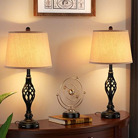 Table Lamps Vintage Bedside Lamps with Dual USB Charging Ports for Living Room Set of 2, Kakanuo Farmhouse Nightstand Lamps, 27'' Retro Lamp with Spiral Cage Design Base for Bedroom, Guest Room