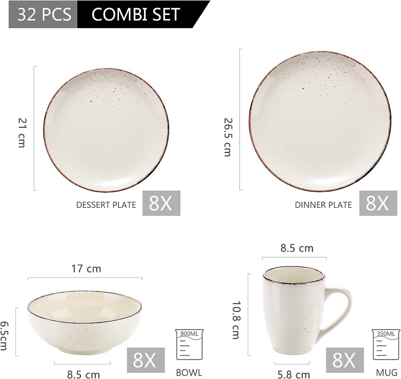 S/érie Navia vancasso Assiette Color/ée Fa/ïence Style Moderne Service de Table en C/éramique 32 Pi/èces pour 8 Personnes