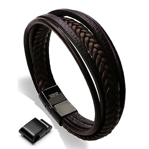 Moneekar Jewels Leather Bracelet Double Magnetic-Clasp Cowhide Braided Multi-Layer Wrap Mens Bracelet