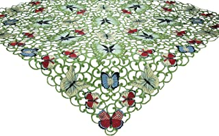 Xia Home Fashions Butterflies Embroidered Cutwork Spring Table Topper, 34-Inch by 34-Inch
