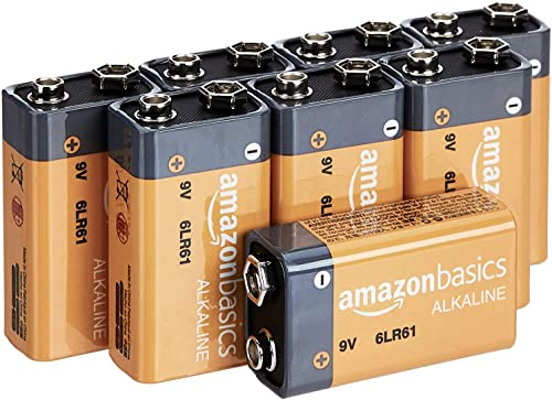 Amazon Basics 8 Pack 9 Volt Performance All-Purpose Alkaline Batteries, 5-Year Shelf Life, Easy to Open Value Pack