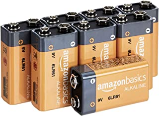 AmazonBasics 9 Volt Everyday Alkaline Batteries – Pack of 8 (Appearance may vary)