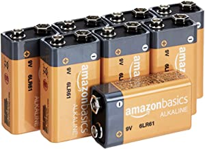 AmazonBasics 9 Volt Everyday Alkaline Batteries - Pack of 8
