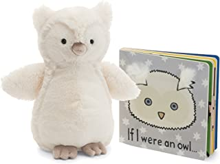 Jellycat Book and Stuffed Animal Gift Set, If I were an Owl Board Book and Woodland Cream Owl